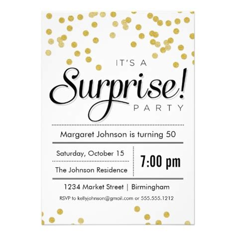 confetti surprise party invitation surprise party