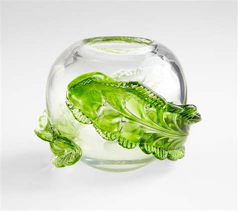 Small Green Vase by Small Green Glass Leaf Vase By Cyan Design