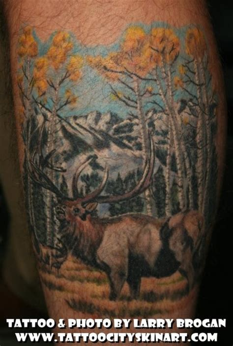 wilderness tattoos city skin studio tattoos nature elk in