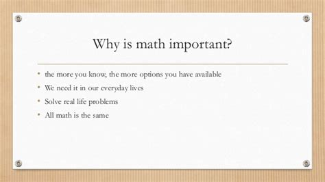 Why Mat Is Necessary by Why Is Math Family Feud