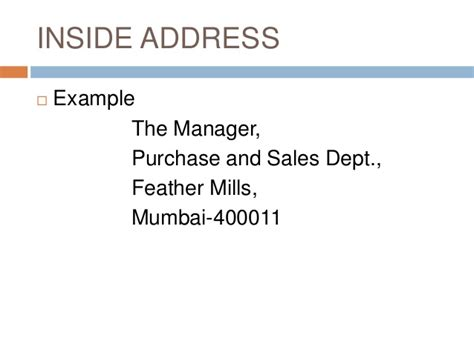 Business Letter Inside Address Elements Of Business Letter