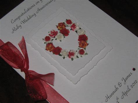 Handmade Ruby Wedding Cards - personalised handmade 40th ruby anniversary card