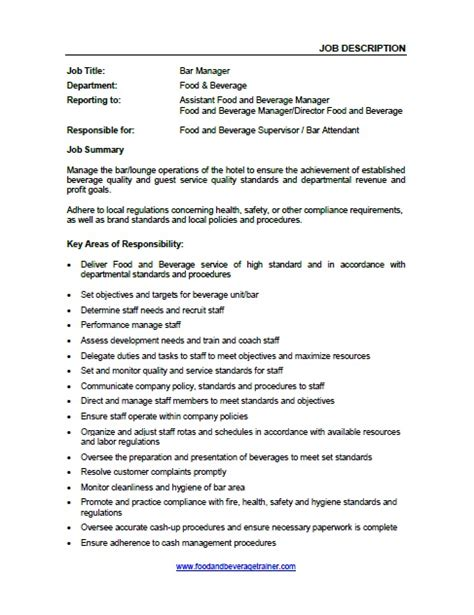 food and beverage manager sle 28 images sle resume for