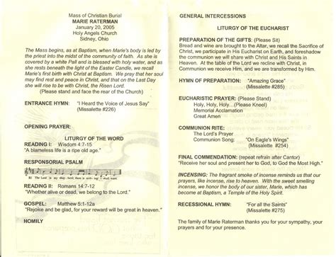catholic funeral mass program template raterman george n sources