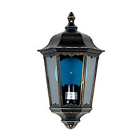 Outdoor Lights Homebase Bordeaux 100w Half Lantern Black And Gold Effect