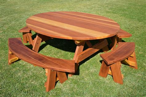 wood picnic benches oval picnic table custom oval shaped wood picnic table