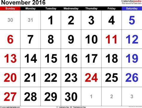 C2016 Calendar November 2016 Calendars For Word Excel Pdf