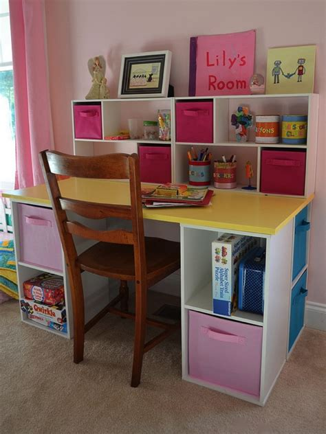 Diy desk for kids assembled i hacked up some closetmaid cubes into a great little desk for
