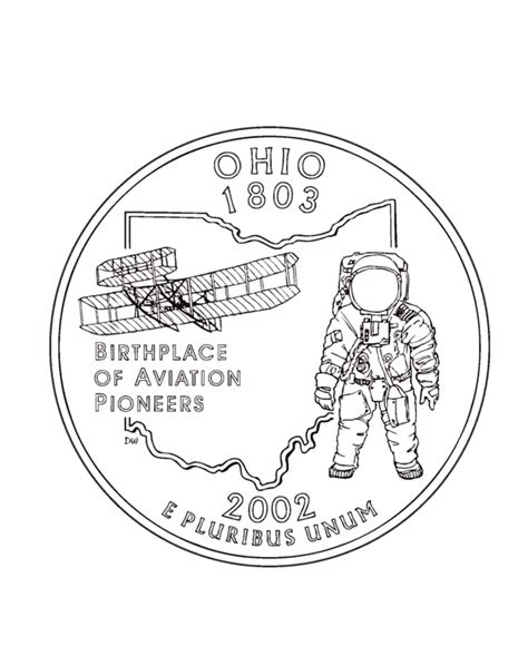 coloring page quarter ohio state quarter coloring page usa coloring pages