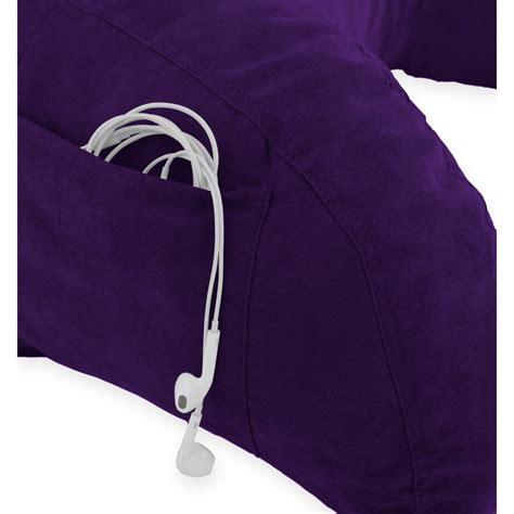 purple bed rest pillow microsuede bedrest pillow purple bed rest reading pillow