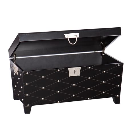 Silver Trunk Coffee Table Nailhead Cocktail Table Trunk Black Satin Silver Kitchen Dining