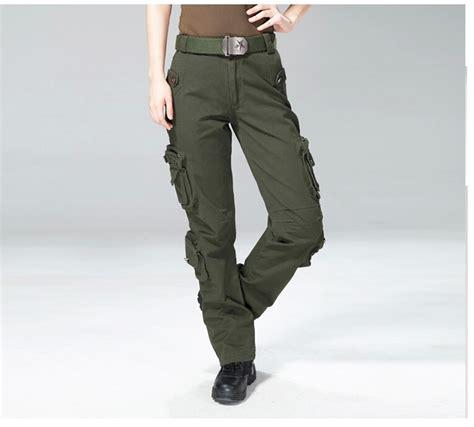 Celana Pdl Untuk Perempuan kualitas tinggi celana kargo perempuan womens kasual multi saku celana celana militer saku