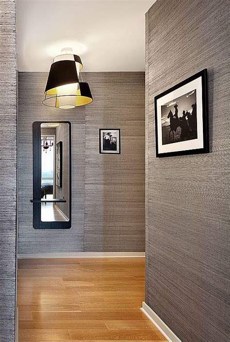 grey wallpaper hallway ideas textured wallpaper the hallway is never boring entry