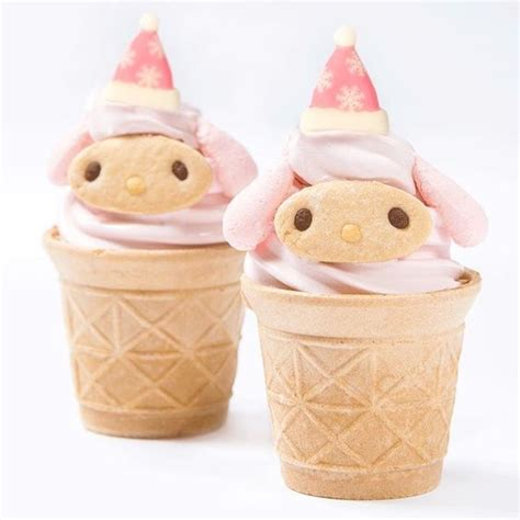 cute desserts cute and kawaii food art mymelody x mas ice cream cone at