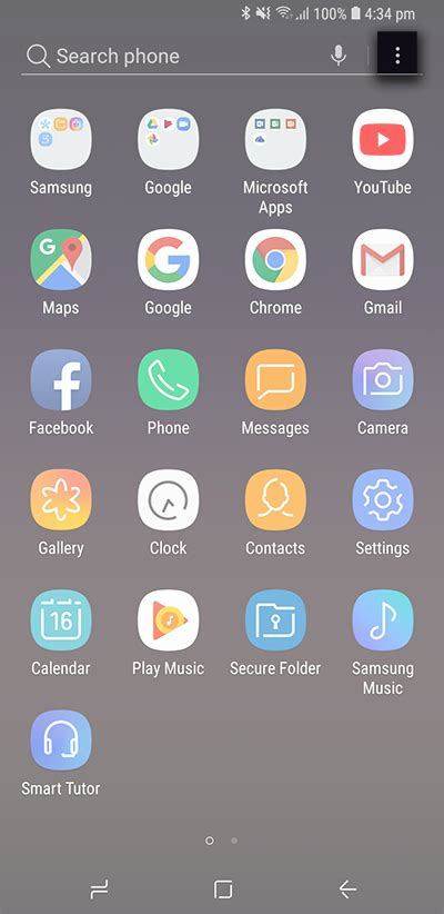 access  apps menu  oreo samsung support