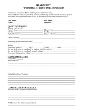 Fillable Online Brag Sheet Personal Data For A Letter Of Recommendation Fax Email Print Pdffiller Brag Letter Template