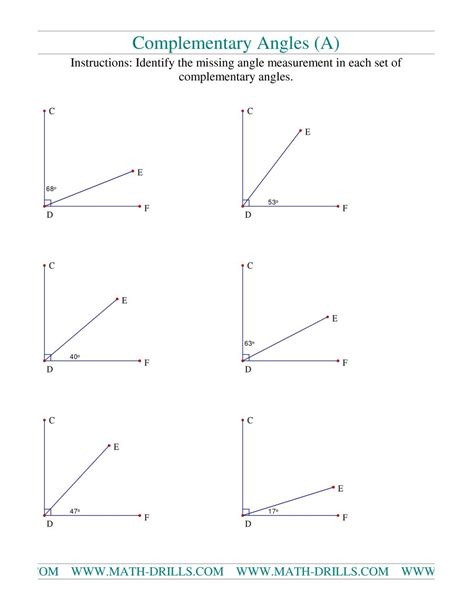 Complementary And Supplementary Angles Worksheets by Complementary Angles A