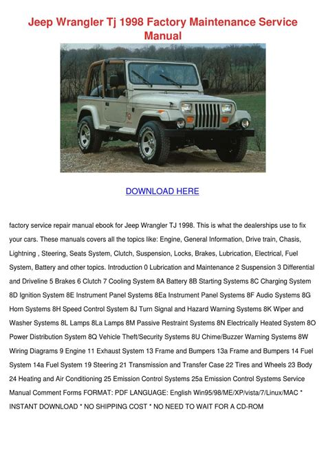 small engine repair manuals free download 1998 jeep cherokee windshield wipe control jeep wrangler tj 1998 factory maintenance ser by shawnna higgs issuu