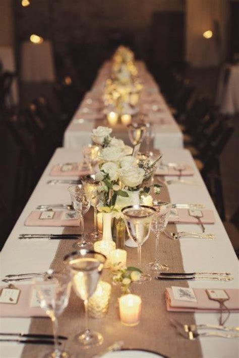 wedding reception table runners chic and wedding reception ideas hessian table