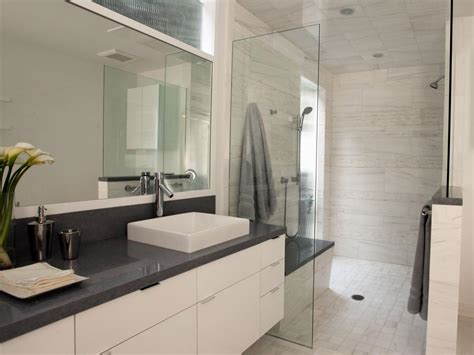 modern gray bathrooms light airy contemporary bathroom christopher grubb hgtv