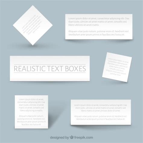 templates for text boxes realistic text boxes templates vector free download