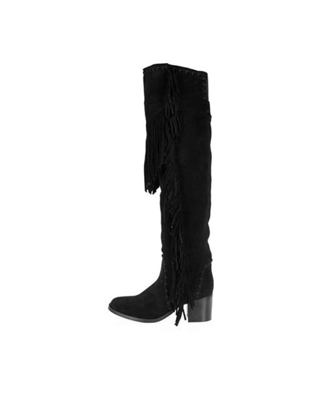 river island black suede fringed knee high boots in black