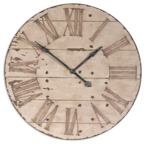 rustic clock uttermost harrington 36 quot wooden wall clock 06671 rustic