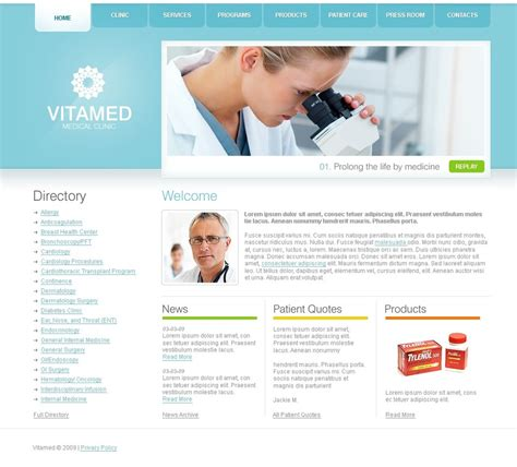 templates for official website medical turnkey website 2 0 33719
