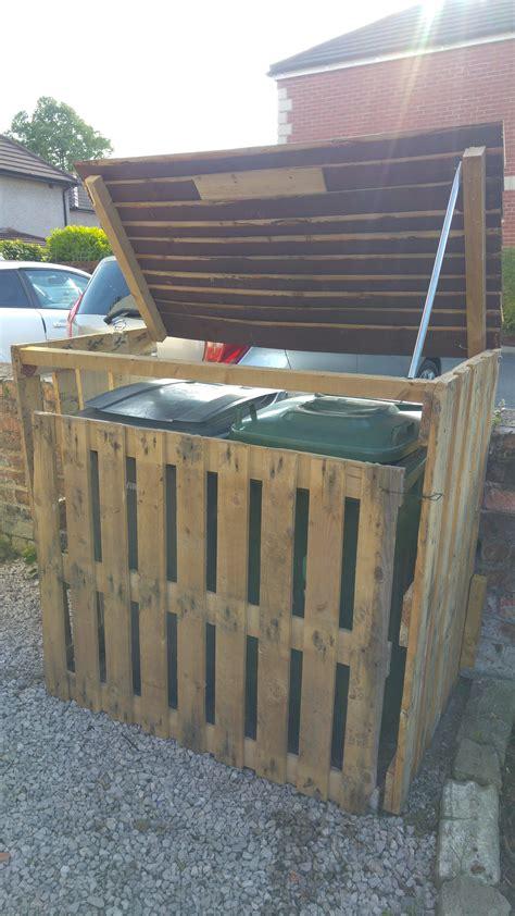 pallet garbage bin storage shed diy storage shed pallet
