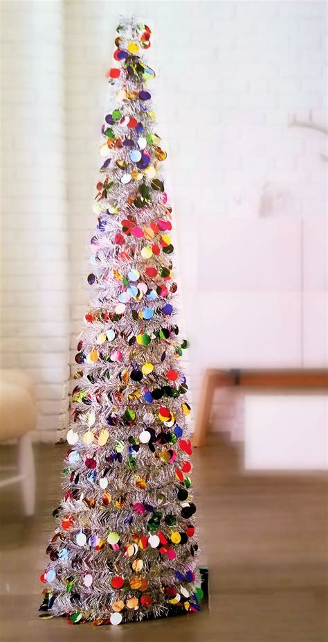 5 ft collapsible tinsel tree pop up slim tree for