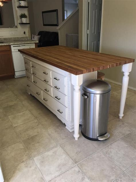 Kitchen Island made with Dresser & Butcher Block    House