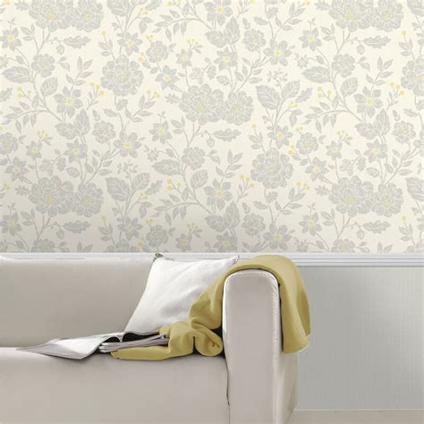 grey yellow wallpaper uk alexandra floral yellow grey wallpaper crown wallpaper