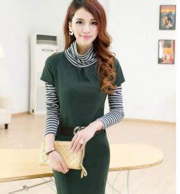 D51 29 Mini Dress Wanita Lengan Panjang Kaos Brukat Turtleneck Ready Stock Model Terbaru Jual Murah Import Kerja