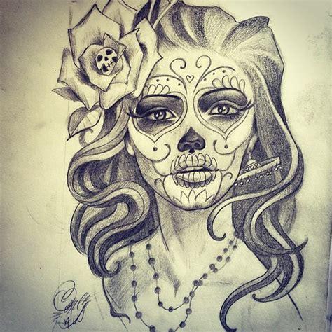 Beautiful Grey And Black Catrina Tattoo