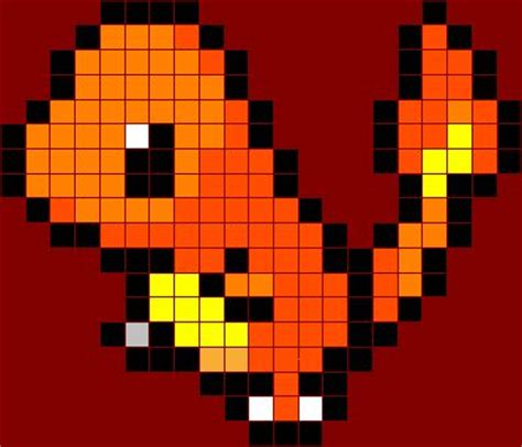 charmander pixel template 8 bit charmander grid search crochet knit and