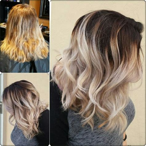 how to achieve dark roots hair style dark root balyage cool tones love my job pinterest