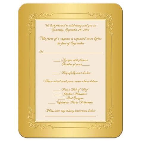 50th wedding anniversary response cards 50th wedding anniversary a2 rsvp card ivory and gold