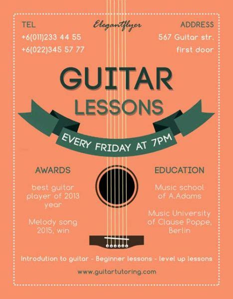 Guitar Lessons Free Flyer Template   Download for Photoshop