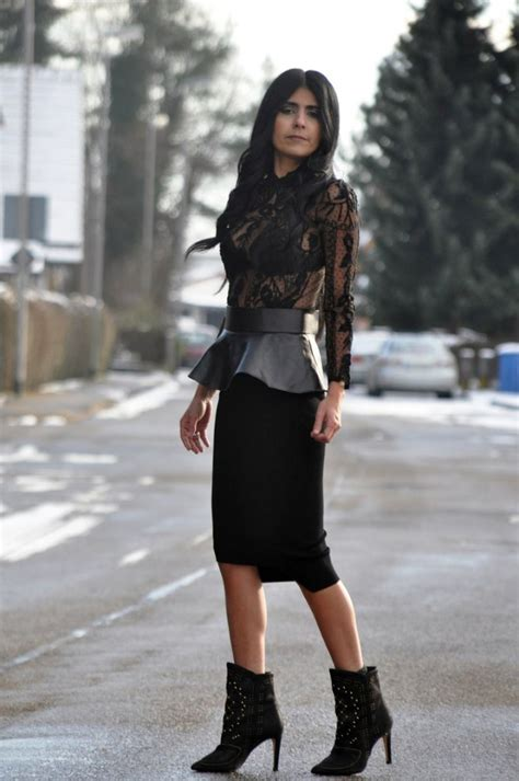 leather peplum belt lace blouse asymmetric pencil skirt