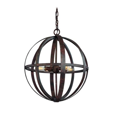 Orb Pendant Light Small Orb Pendant Light In Weathered Iron Finish 4 Lights F2514wi Destination Lighting