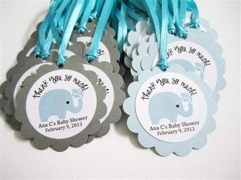 Personalized Elephant Favor Tags for Baby Boy Shower Party in Blue   adorebynat   Seasonal on