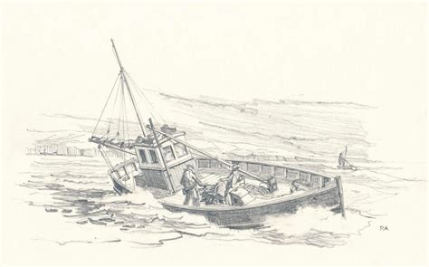 fishing boat sketch sketches richard adshead artist