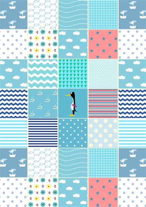 Patchwork Paper - free digital blue patchwork scrapbooking paper