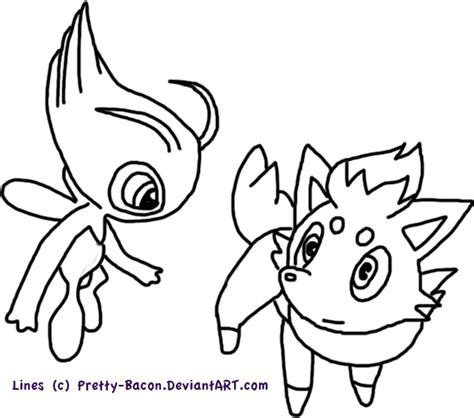 pokemon coloring pages of zorua free use celebi and zorua line by pretty bacon on deviantart
