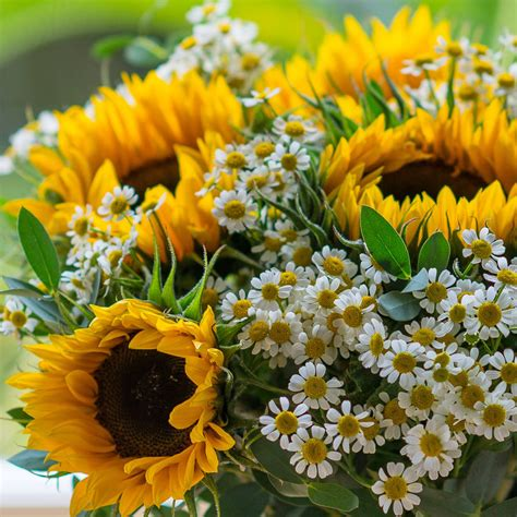White Lily Vase Sunflower And Daisy Garden Bouquet By The Flower Studio