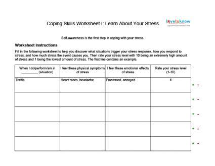 Skills Worksheets For Adults by Coping Skills Worksheets For Adults Lovetoknow