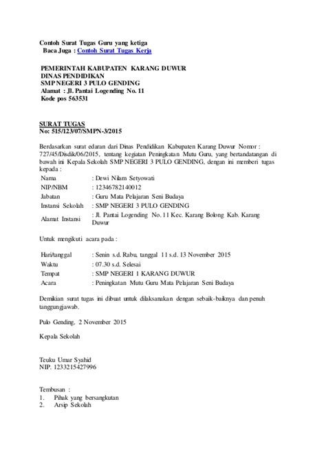 contoh surat tugas dari kepala sekolah untuk guru wisata dan info sumbar