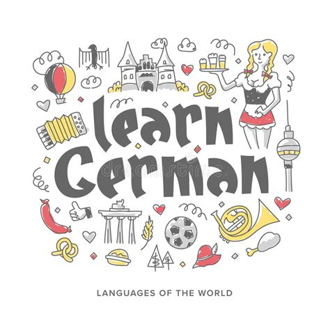 doodle learn sign in learn german concept illustration stock vector