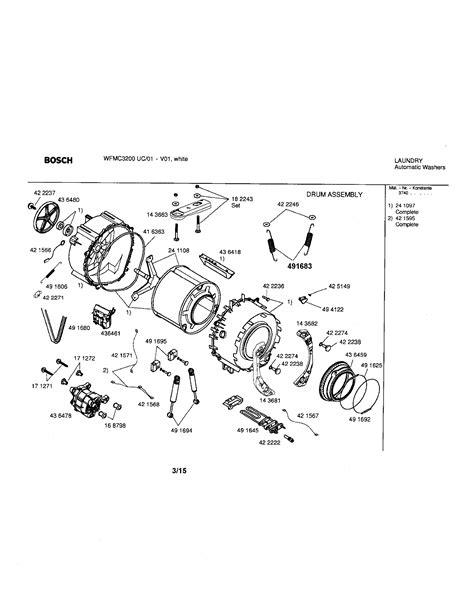 bosch washer parts diagram drum assembly diagram parts list for model wfmc3200uc01