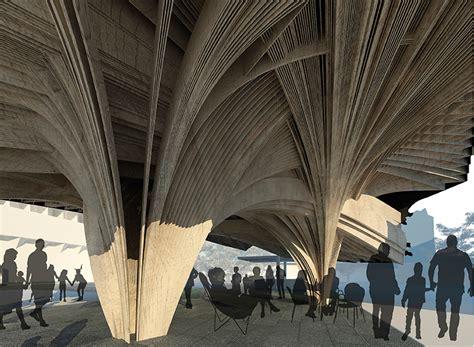 pavilion concept naau studio utilizes geography to formulate garden pavilion concept